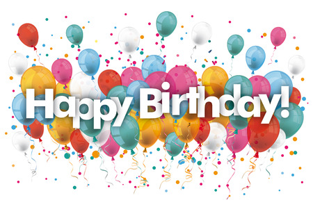 Balónky s textem Všechno nejlepší k narozeninám. Vektorový soubor.