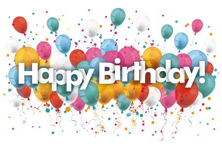 Balony z tekstem Happy Birthday. Plik wektorowy.