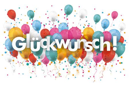 felicitation: German text Glueckwunsch, translate congratulation. vector file. Illustration
