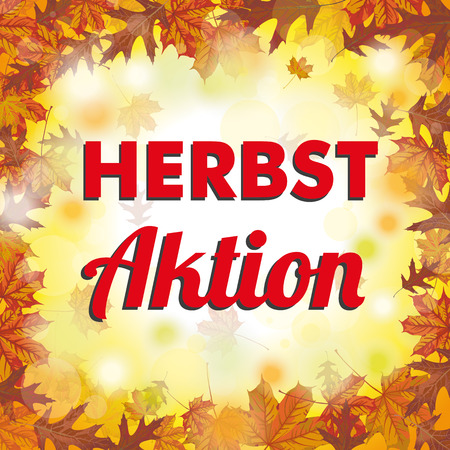 indian summer: German text Herbstaktion, translate Fall Sale . vector file. Illustration