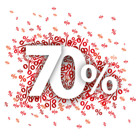 rebate: 70 red percents on the white. vector file.