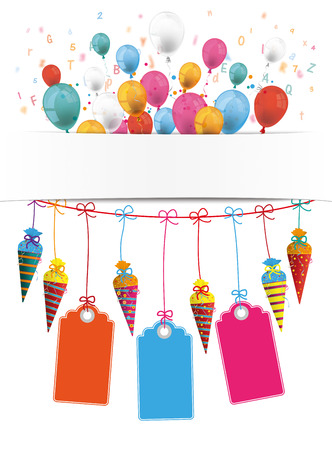 Checked paper banner, candy cones, price stickers and colored balloons.  vector file. Illustration