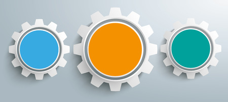 cogs and gears: 3 colored gears on the gray background. vector file.