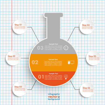 assay: Tube infographic on the checked paper background. vector file. Illustration