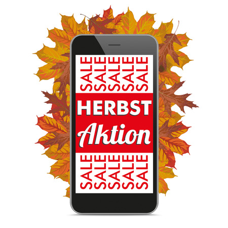 herbst: German text Herbst Aktion, translate Autumn Offers. vector file.