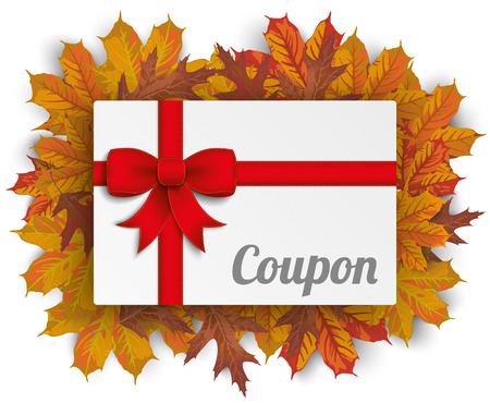 fashion shopping: Coupon card with autumn foliage leaves. vector file.
