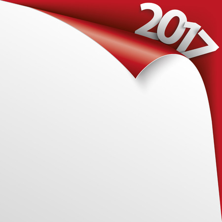 convert: Convert paper cover with text 2017 on the red background. vector file.