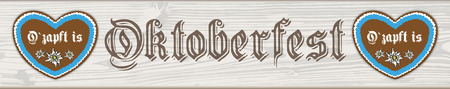 heart month: German text O?zapft is and Oktoberfest, translate on tap and Oktoberfest. vector file. Illustration