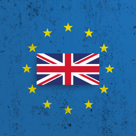 concrete background: EU and UK flag on the concrete background . vector file.