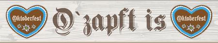 ドイツ語のテキストO? zapft はと「オクトーバーフェスト」翻訳タップと「オクトーバーフェスト」。ベクター ファイル。  イラスト・ベクター素材