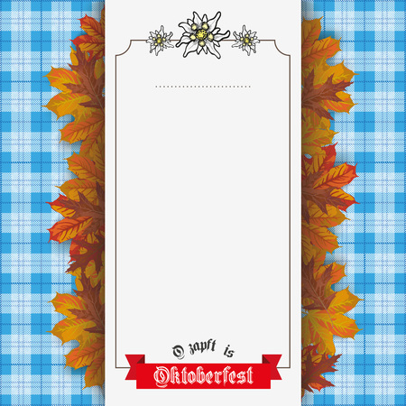 blanked: German text O zapft is and Oktoberfest, translate on tap and Oktoberfest. vector file. Illustration