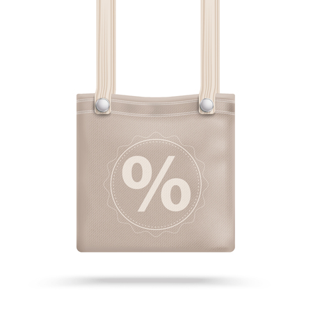 pocket book: Brown purse bag with percent on the white background. vector file.