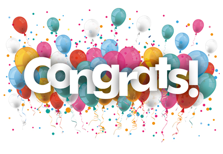 Balloons with confetti and text Congrats. vector file.