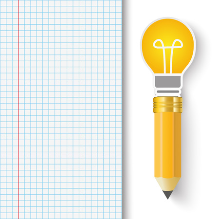 checked: Checked Paper with bulb and pencil. vector file. Illustration
