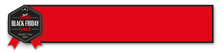 Black friday emblem with red banner on the white background. vector file.