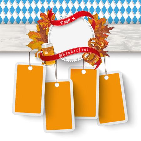 bretzel: German text Ozapft is and Oktoberfest, translate on tap and Oktoberfest. vector file. Illustration