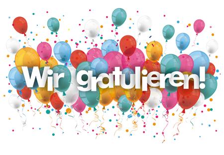 """Niemiecki tekst """"Wir gratulieren"""" przetłumaczyć """"my gratulacje"""". plik wektorowy."""