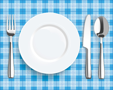 Blue picnic blanket with plate, spoon, knife and fork. vector file. Stock Illustratie