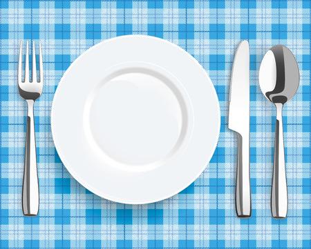 manta de picnic azul con plato, cuchara, cuchillo y tenedor. archivo vectorial. Ilustración de vector