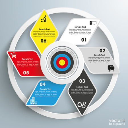 iterative: Infographic design with rhombus and target on the gray background. vector file.