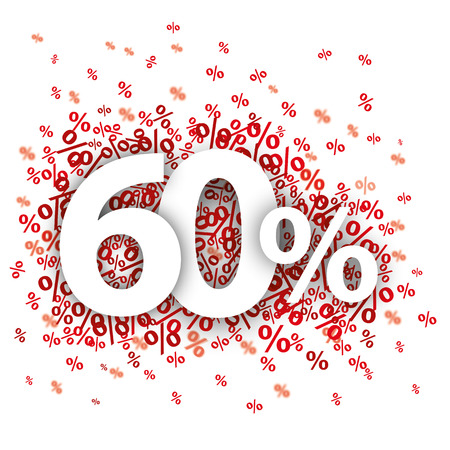 60 red percents on the white. vector file. Illustration