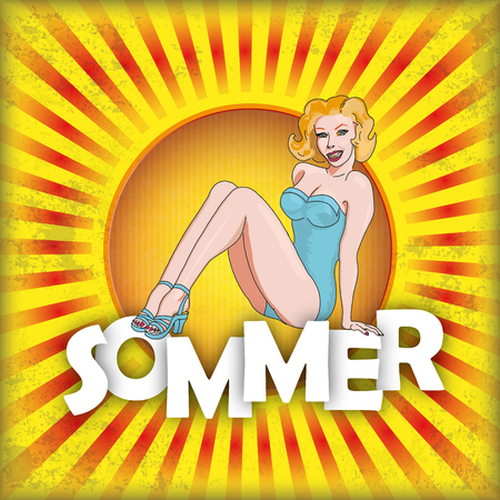 sexy woman disco: German text Sommer, translate Summer. vector file.