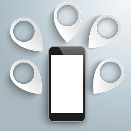 locating: White markers with smartphone on the gray background. vector file. Illustration