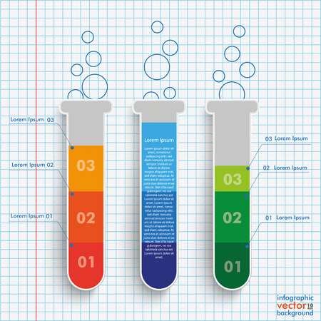doctor exam: Infographic with lab tubes on the checked paper background. vector file. Illustration