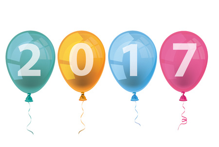 Text 2017 with colored balloons on the white background. vector file. Illustration