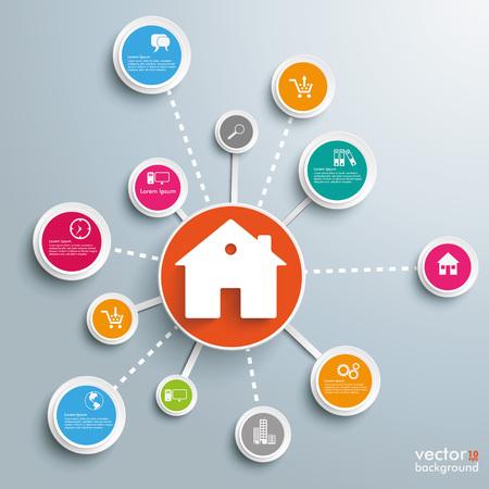 bienes raices: diseño de infografía con la casa y los círculos en el fondo gris. archivo vectorial. Vectores