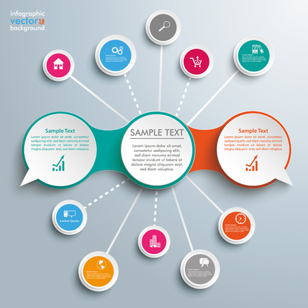 Infographic design with speech bubbles and circles on the gray background.