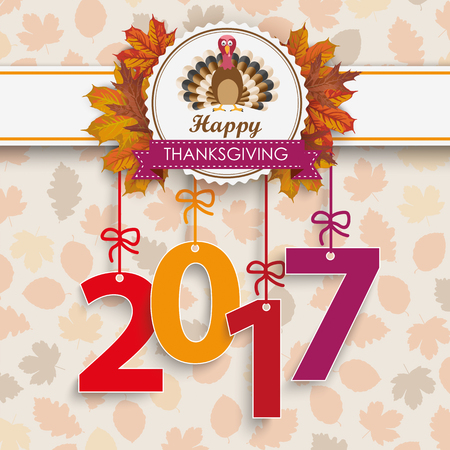 prongs: Number 2017 with thanksgiving emblem and autumn foliage. vector file. Illustration