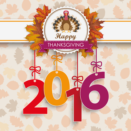gobble: Number 2016 with thanksgiving emblem and autumn foliage. vector file. Illustration