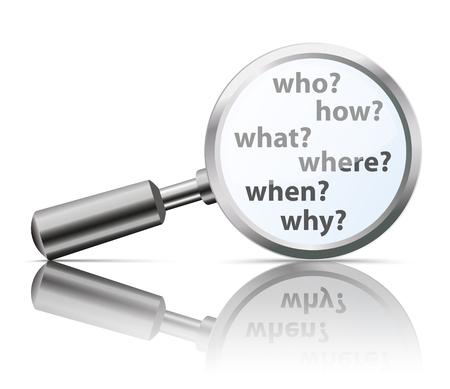 Lupa con preguntas quién, cómo, qué, dónde, por qué, cuándo. archivo vectorial. Ilustración de vector