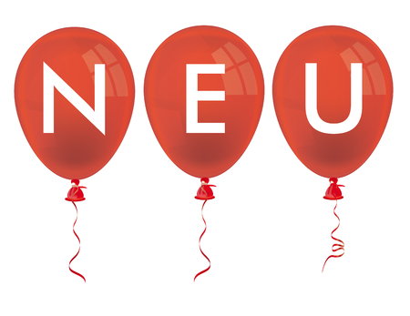 red balloons: Red balloons and german text neu, translate new. vector file. Illustration