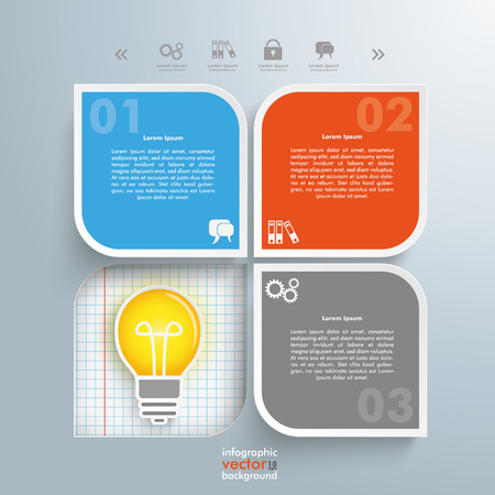 gray bulb: Infographic design with bulb and round quadrates on the gray background. vector file.