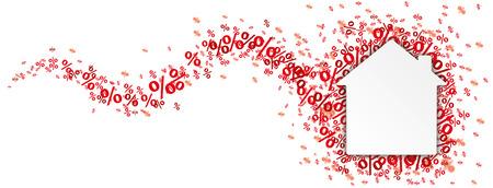 bienes raices: Casa de papel con el por ciento de color rojo sobre el blanco. archivo vectorial. Vectores