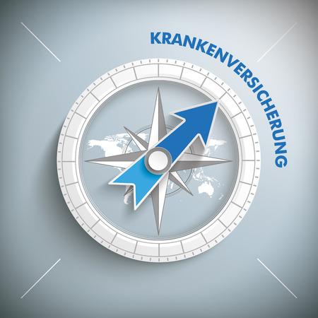 German text Krankenversicherung, translate Health Insurance. vector file. Illustration