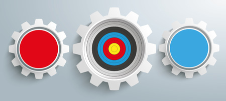 network marketing: 3 colored gears and target on the gray background. vector file.