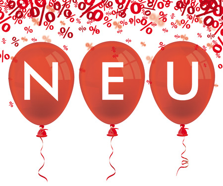 Red balloons and german text neu, translate new. vector file. Illustration