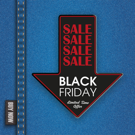 jeans fabric: Blue jeans fabric with down arrow for black friday sale ribbon. vector file.