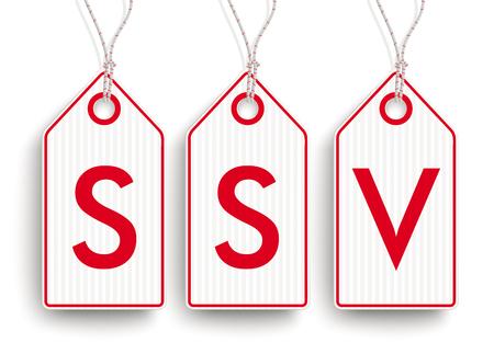 note board: German text SSV, translate Summer Sale. vector file. Illustration