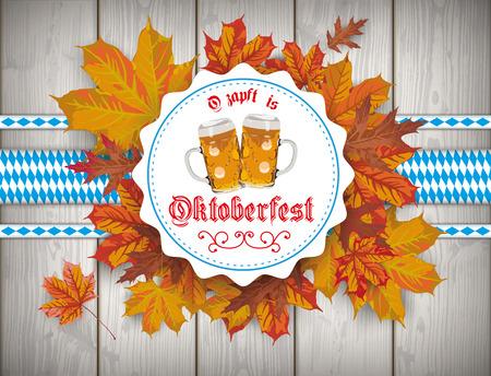 """jarra de cerveza: texto alemán """"O'zapft es"""" y """"Oktoberfest"""", traducir """"de barril"""" y """"Oktoberfest"""". archivo vectorial. Vectores"""