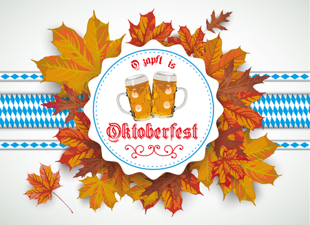 German text O?zapft is and Oktoberfest, translate on tap and Oktoberfest. vector file. Illustration