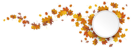 Paper emblem with autumn foliage on the white. vector file.