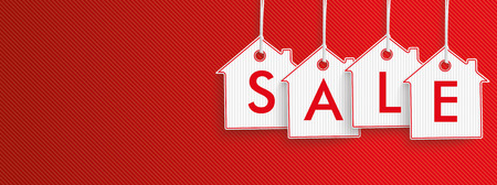 Hanging house shape price stickers on the red striped background. vector file.