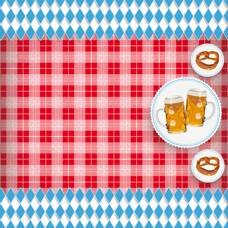 Cover for Oktoberfest with red checked blanket and emblems. vector file. Illustration