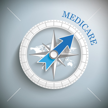 Compass with text medicare. vector file. Illustration