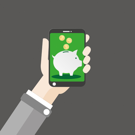 Flat design with human hand, a smartphone and piggy bank. vector file. Illustration