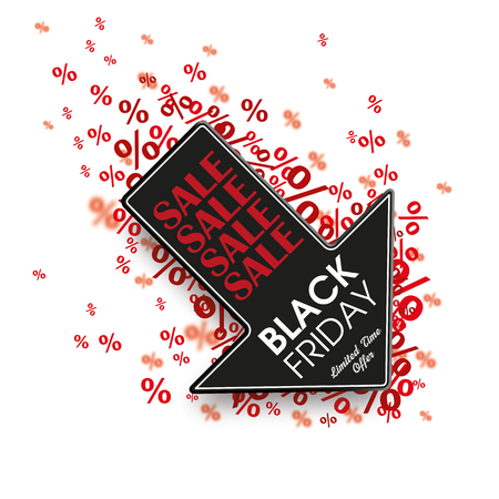 offerings: White paper arrow with red percents on the white for Black Friday. vector file. Illustration